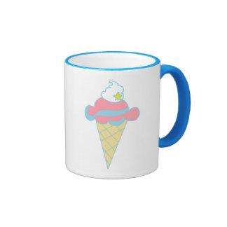 Pink Blue Swirl Star Ice Cream Cone Ringer Coffee Mug