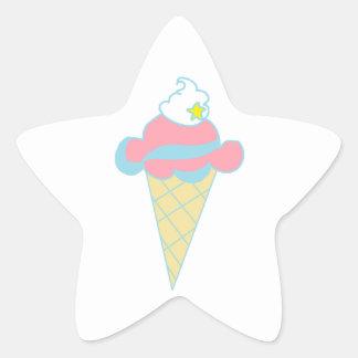 Pink Blue Swirl Star Ice Cream Cone Stickers