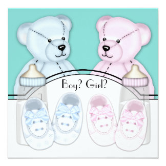 "Pink Blue Teddy Bear Gender Reveal Party 5.25"" Square Invitation Card"