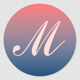Pink & Blue Twilight Monogram Wedding Seal