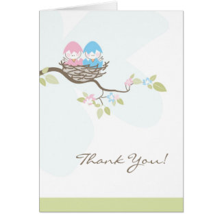 Pink & Blue Twin Birds in Nest Thank You Card