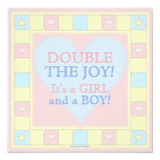 Pink & Blue Twins Patchwork Quilt Baby Shower 5.25x5.25 Square Paper Invitation Card