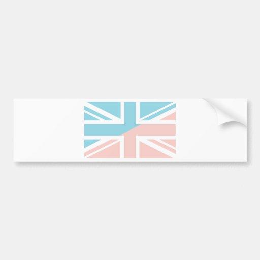 Pink Blue Union Jack British(UK) Flag Bumper Stickers