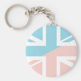 Pink Blue Union Jack British(UK) Flag Keychain
