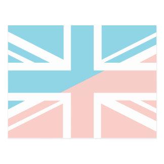 Pink Blue Union Jack British UK Flag Postcards