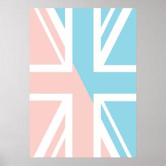 Pink Blue Union Jack British UK Flag Posters