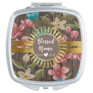 Pink Blue White Floral Rustic Gold Blessed Mama Travel Mirror