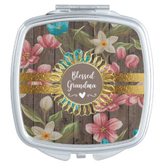 Pink Blue White Floral Rustic Wood Blessed Grandma Travel Mirror