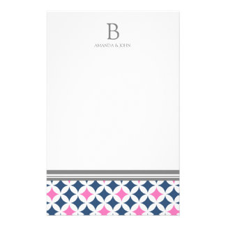 Pink Blue White Wedding Monogram Stationery
