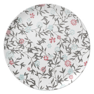 PInk Blue Wild flowers Party Plate