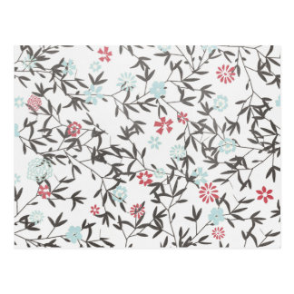 PInk Blue Wild flowers Post Card