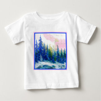 Pink-Blue Winter Forest Landscape Baby T-Shirt