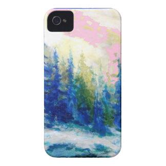 Pink-Blue Winter Forest Landscape iPhone 4 Case-Mate Case