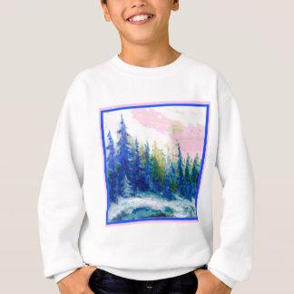 Pink-Blue Winter Forest Landscape Sweatshirt