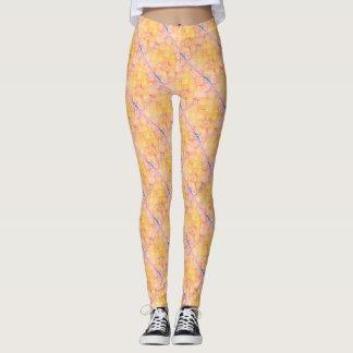Pink, Blue & Yellow Diagonal Stripe Pattern Leggings