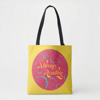 Pink Blue Yellow Swirls Always Reading Bookish Tote Bag