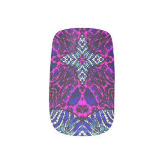 Pink Blue Zebra Abstract Nails Sticker