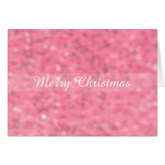 Pink Blur Glitter Merry Christmas Card