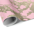 Pink Blush Ballet Foxier Gold Marble Shiny Glam Wrapping Paper