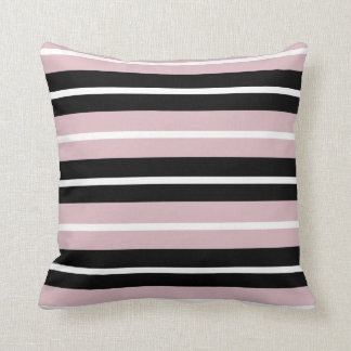 Pink Blush & Black Stripe Throw Pillow by Jomaz