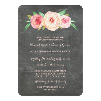 Pink Blush Chalkboard Rehearsal Dinner Party 13 Cm X 18 Cm Invitation Card