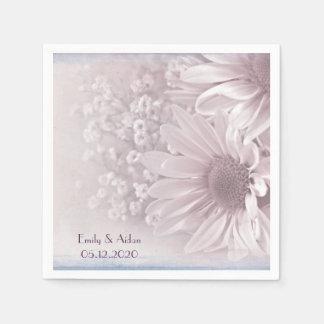 pink blush daisy bouquet disposable napkin
