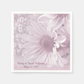 pink blush daisy wedding bouquet disposable serviette