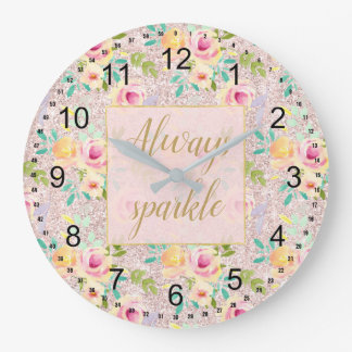 Pink Blush Faux Glitter Sparkle Floral Watercolor Large Clock