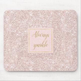 Pink Blush Faux Glitter Sparkle Mouse Pad