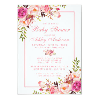 Pink Blush Floral Baby Shower Invitation PS