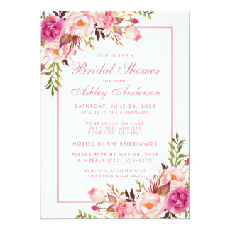 Pink Blush Floral Bridal Shower Invitation BPF