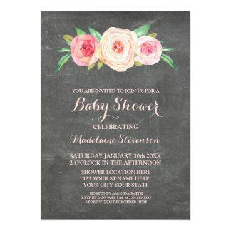 Pink Blush Floral Chalkboard Wood Baby Shower 13 Cm X 18 Cm Invitation Card