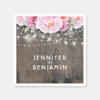 Pink Blush Floral Rustic Wood and Lights Disposable Serviette