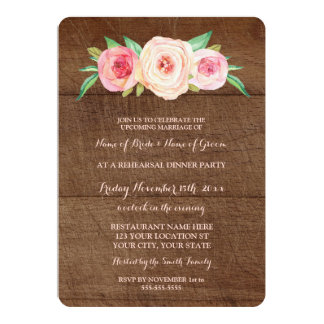 Pink Blush Floral Wood Rehearsal Dinner Party 13 Cm X 18 Cm Invitation Card