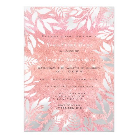 Pink Blush Glitter Ombre Floral Sparkly Paste 16th Card
