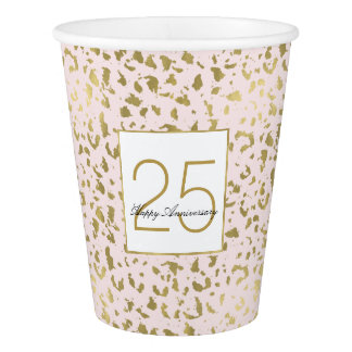 Pink Blush Gold Animal Print Birthday Paper Cup