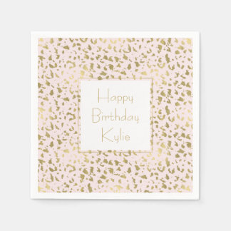 Pink Blush Gold Animal Print Paper Serviettes