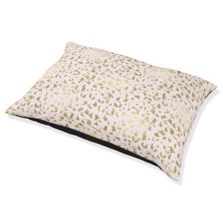 Pink Blush Gold Animal Print Pet Bed