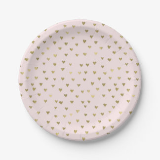 Pink Blush Gold Hearts Paper Plate