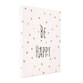 Pink Blush Gold Sparkle Confetti Be Happy Canvas Print