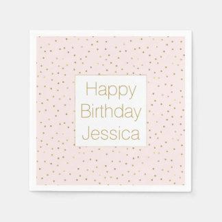 Pink Blush Gold Sparkle Confetti Birthday Paper Napkins