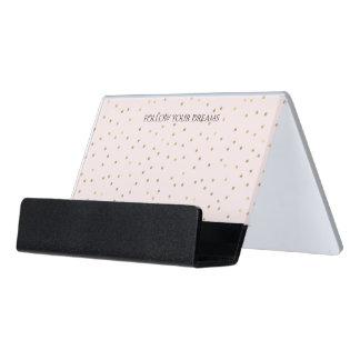 Pink Blush Gold Sparkle Confetti Desk Business Card Holder