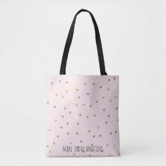 Pink Blush Gold Sparkle Confetti Personalized Tote Bag