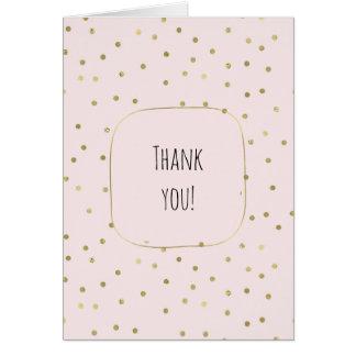 Pink Blush Gold Sparkle Confetti thank you Card