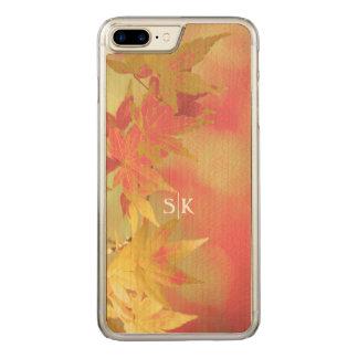 Pink Blush Golden Autumn Maple Leaf Monogram Carved iPhone 7 Plus Case