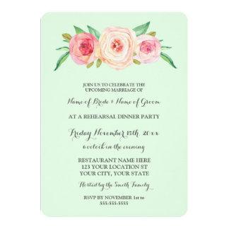 Pink Blush Green Rehearsal Dinner Party 13 Cm X 18 Cm Invitation Card