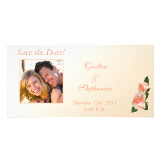 Pink Blush Rose Wedding Photo Announcement Personalized Photo Card