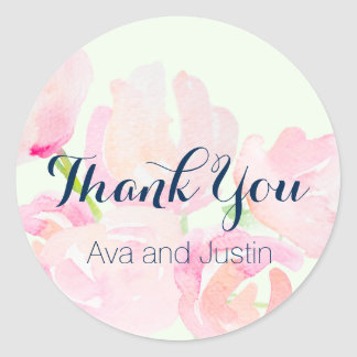 Pink Blush Watercolor Blooms Thank You Seal Round Sticker