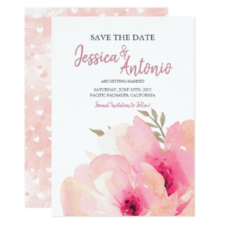 Pink Blush Watercolor Peony Save The Date Wedding Card