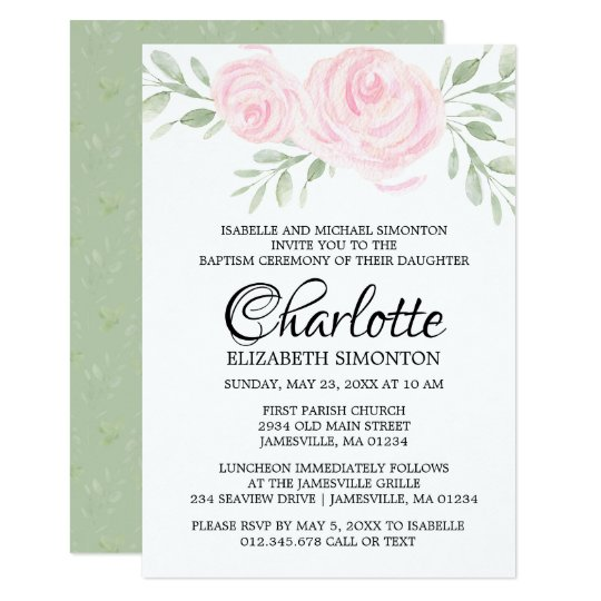 Pink Blush Watercolor Roses Baptism Invitation
